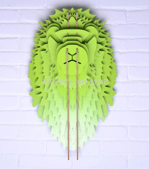 Шикарный зелёный лев из фанеры